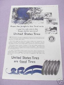 1919 United States Tires Ad U.S. Rubber Company