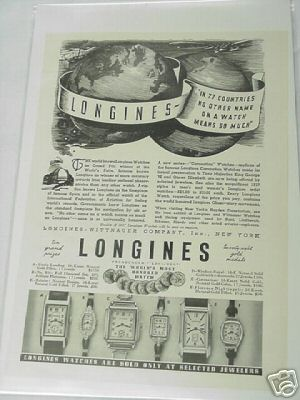1937 Longines Watches Ad World's Most Honored Watch