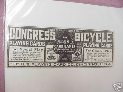 1914 Ad Congress & Bicycle Playing Cards