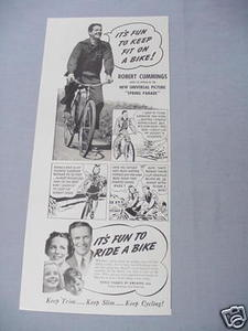1940 Bicycle Trade Ad with Robert Cummings