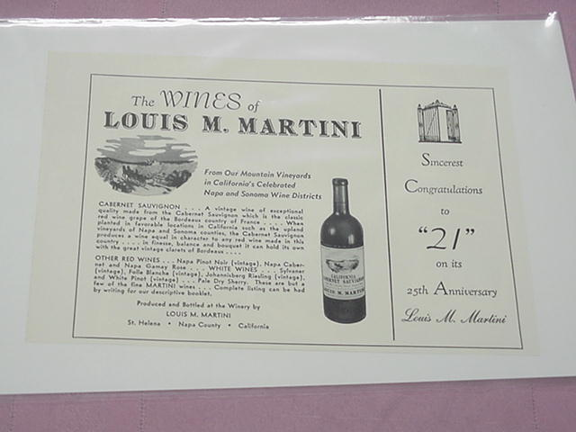 1950 Ad The Wines of Louis M. Martini