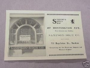 1906 Ad Sampson-Soch Co. Medical Students Supply Store, Boston