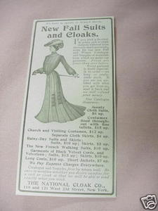 1902 Ad New Fall Suits & Cloaks National Cloak Co. NYC