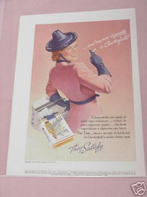 1938 Chesterfield Cigarettes Ad Woman & Hat & Hat Box