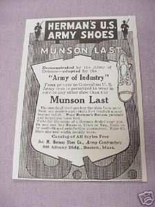 1917 Herman's U.S. Army Shoes Munson Last WWI Ad