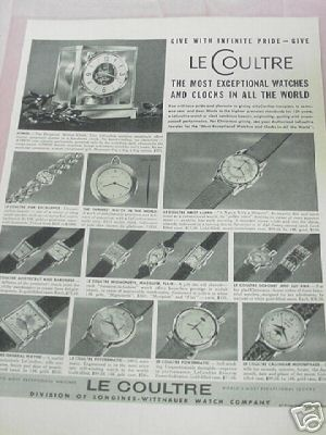 1953 Le Coultre Watches & Clocks Ad 15 Styles Featured