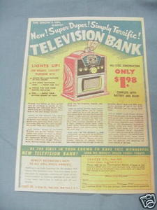1951 Seagee Co. Television Bank Ad