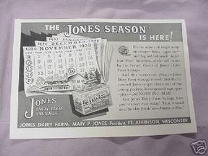 1936 Ad Jones Dairy Farm Sausage Ft. Atkinson Wisconsin
