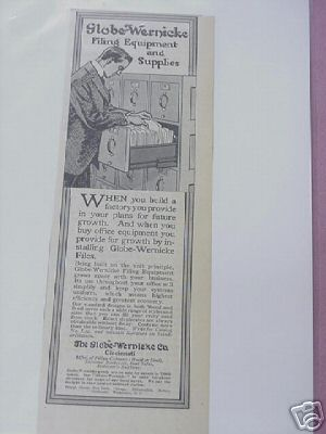 1915 Ad Globe-Wernicke Filing Equipment and Supplies