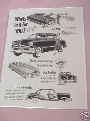 1950 Ford Automobile Ad What's in it for YOU?