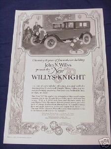 1926 Ad Willys-Knight Automobile Ad Featuring