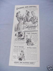 1940 Ad Kleenex Tissues I Kissed Her Sister