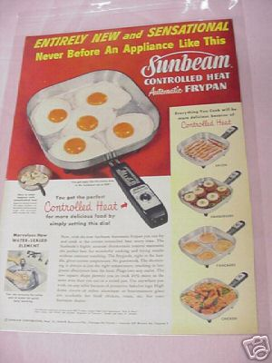 1954 Sunbeam Controlled Heat Automatic Frypan Ad
