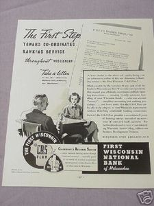 1937 Ad First Wisconsin National Bank of Milwaukee