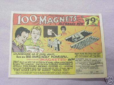 1964 Ad 100 Amazingly Powerful Magnets