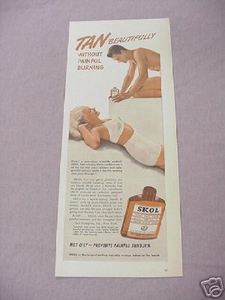 1942 Skol Suntan Lotion Ad Tan Beautifully