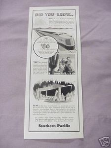 1936 Ad Southern Pacific Railroad SP Did You Know..