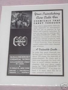 1941 Mallinckrodt Chemicals Photography Ad