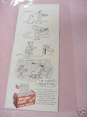 1954 Tender Leaf Tea Bags Ad with Gaylord the Ghost