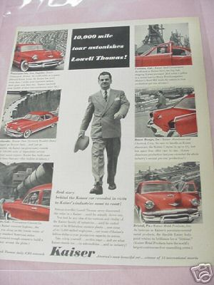 1953 Kaiser Car Ad With Lowell Thomas
