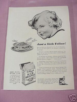1932 Kellogg's Rice Krispies Ad Just A Little Fellow