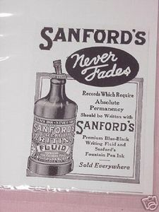 1918 Ad Sanford's Premium Writing Fountain Pens