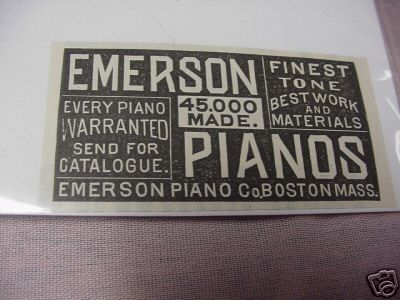 1889 Ad Emerson Pianos, Emerson Piano Co. Boston, Mass