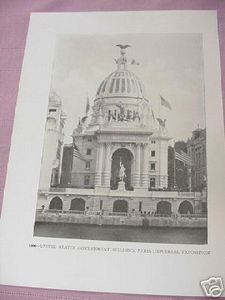 1900 Illustrated Page U.S. Government Building Paris Exposition