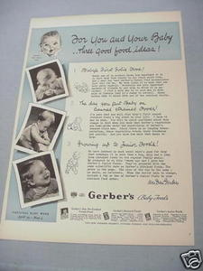 1940 Ad Gerber's Baby Foods For You and Your Baby
