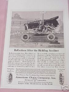 1918 Ad American Chain Company, Bridgeport, Ct. Tire Chains