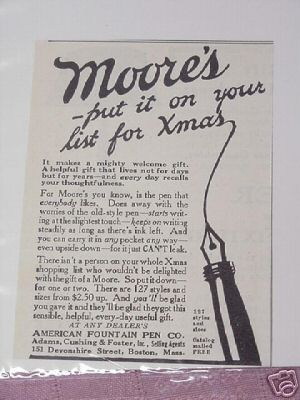 1914 Moore Fountain Pen Ad Moore's