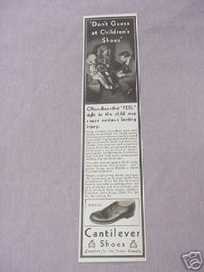 1931 Cantilever Children's Shoes Ad Harrisburg, Pa.