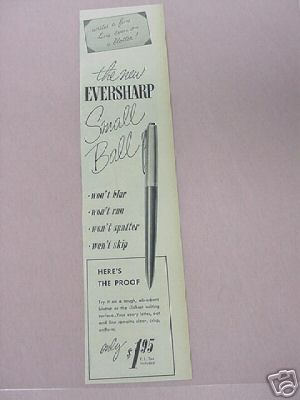 1955 New Eversharp Small Ball Pen Ad