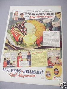 1940 Ad Hellmann's and Best Foods Real Mayonnaise