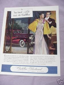 1937 Cadillac Ad I'm Tired Let's Take the Cadillac