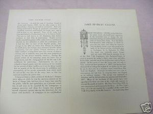 1893 4 Page Biography of James Fenimore Cooper, Author