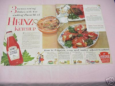 1954 Heinz Tomato Ketchup Color Ad With 3 Recipes!