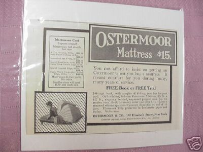 1914 Ostermoor Mattress Ad Ostermoor & Co., New York