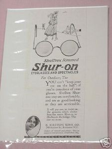 1918 Ad Shur-On Eyeglasses and Spectacles