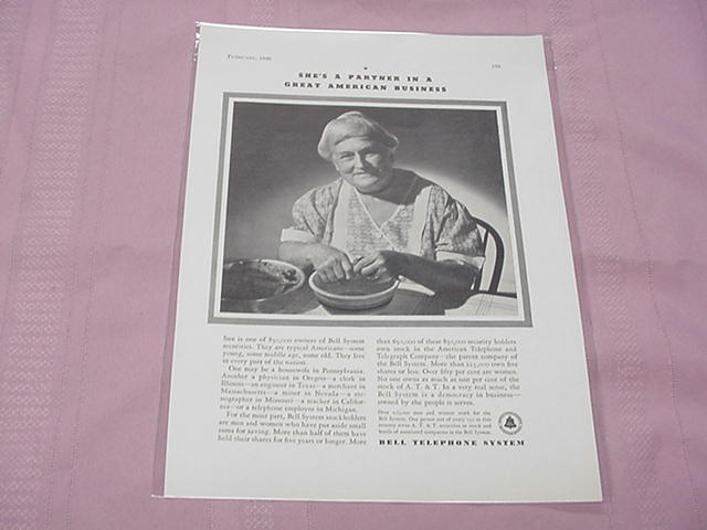 1936 Ad Bell Telephone She's A Partner
