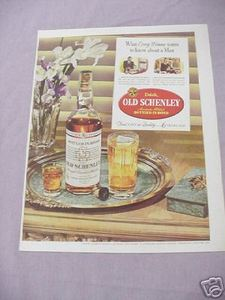 1942 Color Ad Old Schenley Straight Bourbon Whiskey