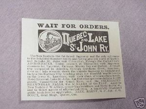 1901 Railroad Ad Quebec and Lake St. John Ry. Railway