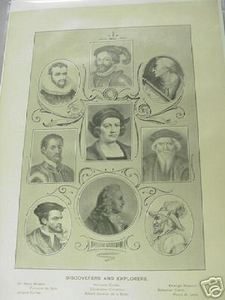 1894 Illustrated Page Discoverers and Explorers