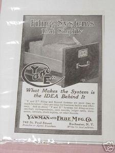 1918 Ad Yawman and Erbe Filing Systems Rochester N. Y.
