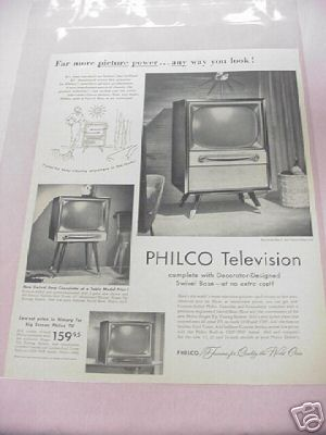 1955 Philco Television Ad 3 Styles Featured