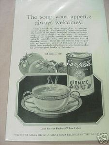 1926 Campbell's Soup Ad Your Appetite Always Welcomes