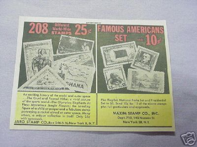 1962 Ad Jaro Stamp Co. & Maxim Stamp Co.