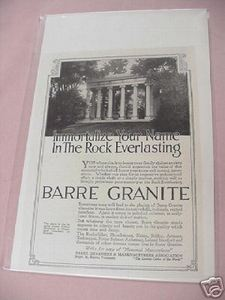 1918 Ad Barre Granite Rock Everlasting Memorials