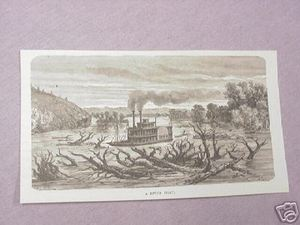 1886 Civil War Illustrated Page A River Boat