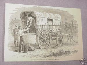 1886 Civil War Illustrated Page Telegraph Wagon
